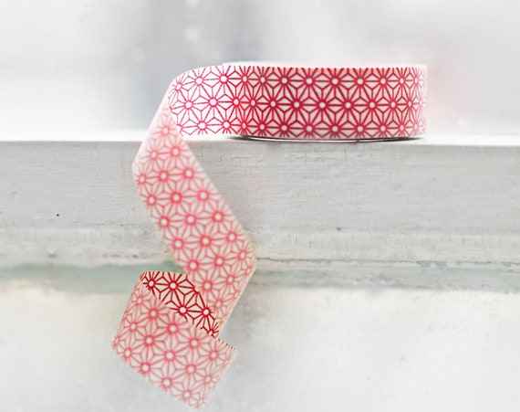 RED GEOMETRIC STAR Japanese Washi Tape- Single Roll 15mm