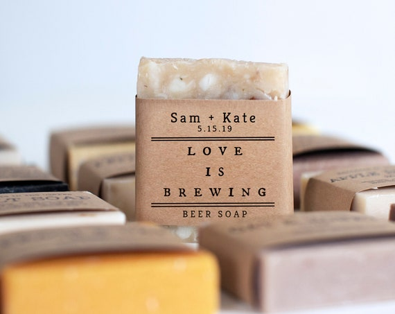 Wedding Soap Favors - Love Is Brewing - Coffee, Beer or Cinnamon Latte Soap - Personalize your wrap design or add a custom logo
