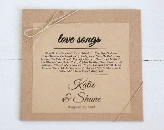 Kraft Stickers - 4 in x 4 in- Set of 8  || Wedding labels & stickers for cd sleeves, Gable boxes, Wedding love song favors