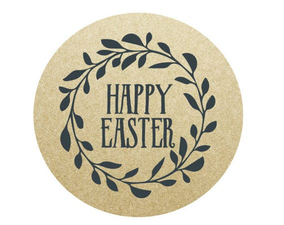 Happy Easter Circle Stickers - 1.67 in- Set of 24 - Easter Stickers, Planners, Seal for Bags, Invitations, Party Favors
