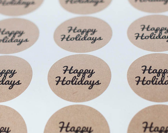 Happy Holidays  Circle Stickers - 1.67  in- Set of 24 - Planners, Scrap booking, Invitations, Party Favors, Christmas Wrapping, Santa