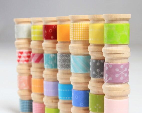 Washi Tape - 20 hand-rolled wooden spools | Choose  Colors or Grab Bag  ||Stripes / Dots / Chevron / Grid / Floral / Vintage Assorted Set