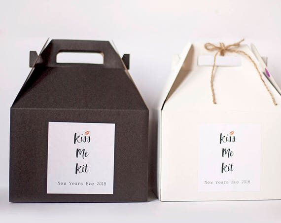 KISS ME KIT - New Years Eve or Valentines Favor Box -9 x 6 x 6 White  or Black Gable Box with custom sticker |  Wedding Gift Box, Guest Box