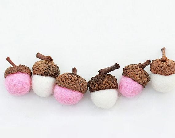 Set of 12 PINK AND WHITE  Wool Felted Acorns| boho, cottage chic, woodland, rustic, girls baby shower decor, girls nursery