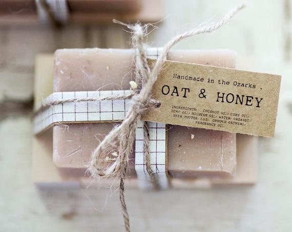 OAT & HONEY Soap     Oatmeal, Cream, Honey Soap Bar, Moisturizing Soap, Bar Soap, Rustic Gift, Wedding Favor, Gift Set, Wooden Holder