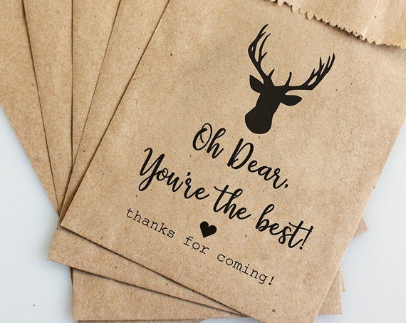 Personalized Party Favor Bags -  4x6 inch - Oh Dear You're the Best - Kraft Paper Rustic Bags - Birthday Party Favor Bags - Shower Favor