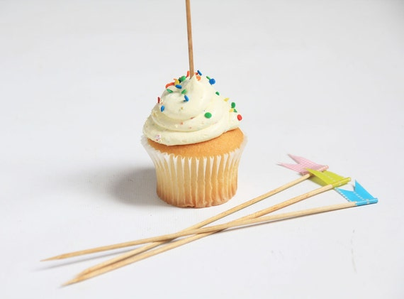 Cupcake Toppers - Cake Toppers - Wooden with Japanese Washi Tape Flags -  Set of 12