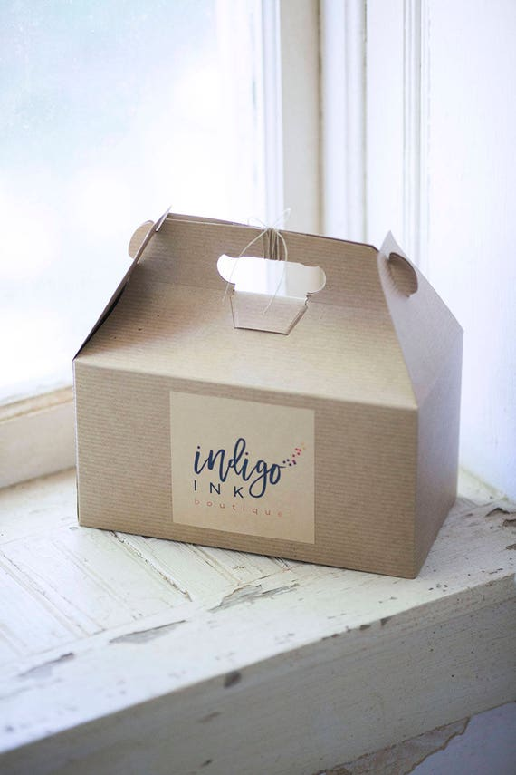 9.5 x 5 x 5  Kraft Natural Gable Gift Box w/ pinstripe texture - lot of 7 | Brown Boxes, Food Packaging, Gift, Lunch Box, Wedding Gift Box
