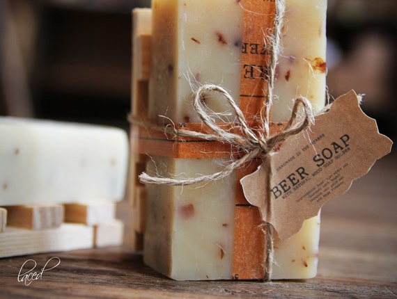 BEER SOAP w/ Wood Holder Gift Set {Made In The OZARKS}   Luxury Soap, Sea Salt Soap Bar, Detoxifying Soap, Detox Soap, Rustic Gift, Man Gift