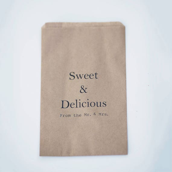 Wedding Favor Kraft Bags - Merchandise - Gift - Food -  Sweet & Delicious From the Mr and Mrs