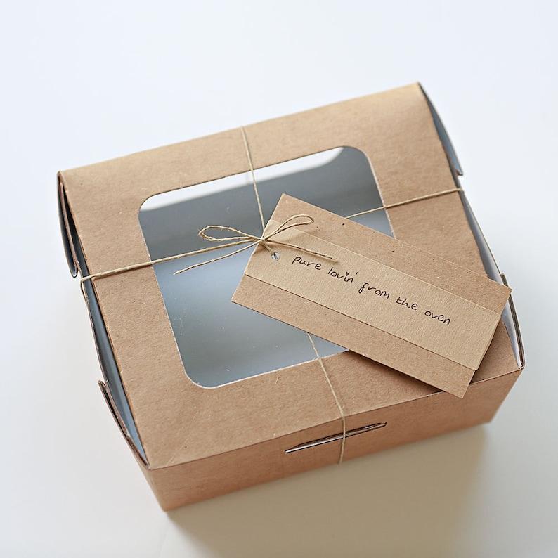 6 Kraft Compostable Salad Boxes 5x5x3 Wedding Pie Boxes image 0