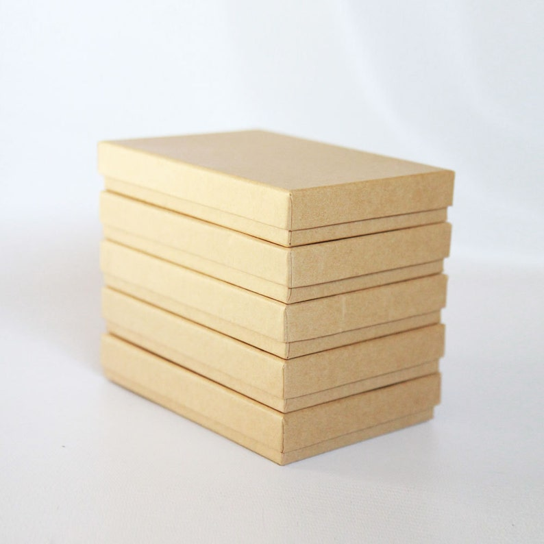 10 Kraft  Boxes filled with cotton  7-1/8 x 5-1/8 image 0