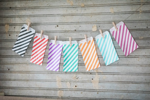 Lot of 12  Striped Paper MERCHANDISE BAGS various sizes || Wedding Favor Bags, Treat Bags, Candy Buffet Bags, Baby Shower, Birthday Bags