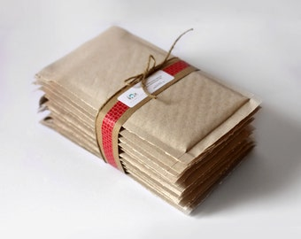 4.25 x 7 inch Brown Kraft Bubble Mailers-  Set of 25   Great for handmade jewelry and other small items