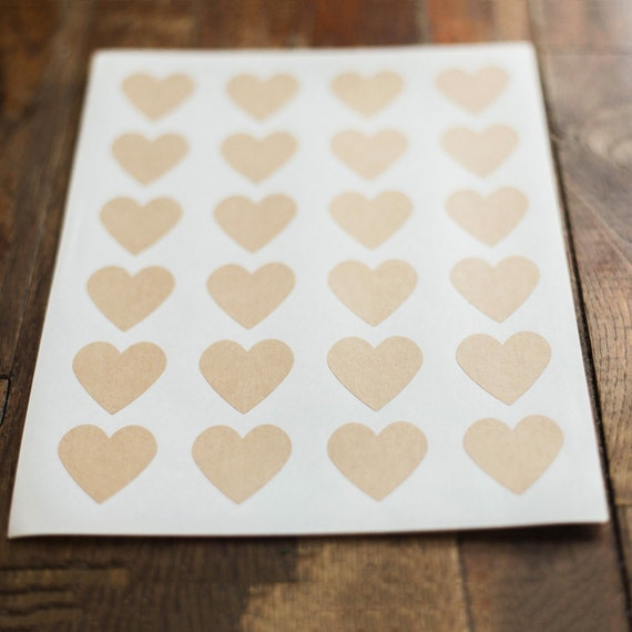 Kraft Heart Labels- 1.5 in x 1.5 in- Set of 24-Planners, Scrapbooking, Invitations, Packaging, Party Favors, Valentine  Label, Heart Sticker