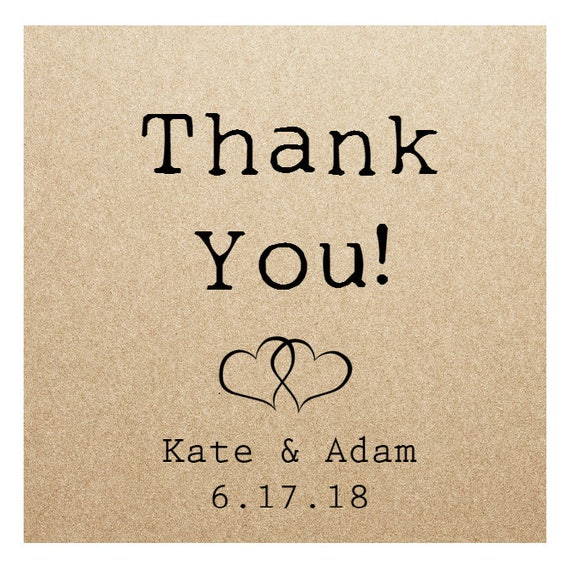 Kraft Wedding Sticker Labels- THANK YOU! - 2in x 2 in- Set of 20 blank or with custom printing  || Wedding Stickers, Thank You Tags, Rustic
