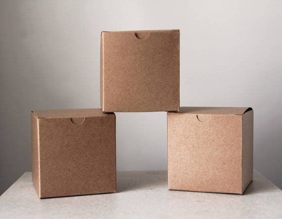 6 x 6 x 6 inch Kraft Gift Boxes, Set of 14 -Kraft Pinstripe / Solid Surface | Brown Wedding Box, Bakery Box • Cupcakes • Cookies • Pastries