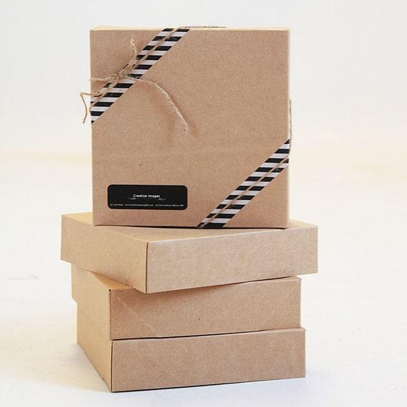 Set of 5- 10  x  10 x 2 1/2 Kraft  Gift Box -  1pc foldable