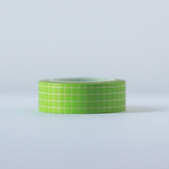 Lime Grid Washi Tape-  Single Roll 15 mm x 10 m
