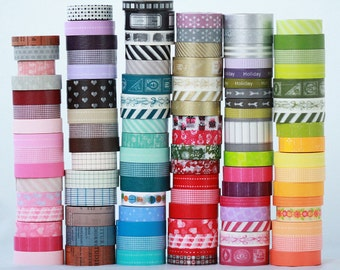 40 wooden spools Japanese Washi Tape Choose the Colors or Grab Bag   ||Stripes / Dots / Chevron / Grid / Floral / Vintage Assorted Washi Set