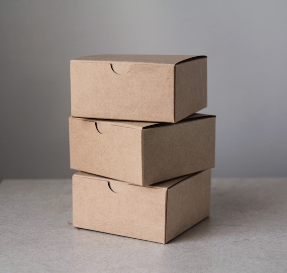 25- 4x4x2 inch Kraft Gift Boxes  ||Party Favor Boxes, Bridesmaid Boxes, Groomsmen Gift Box, Wedding Boxes, Favor Boxes