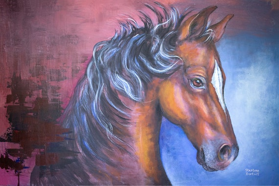 Horse Wall Art - 36 x 24 inch Acrylic Painting on Canvas board or Replica Prints - Country Kitchen Art / Country Home Decor/ Abstract