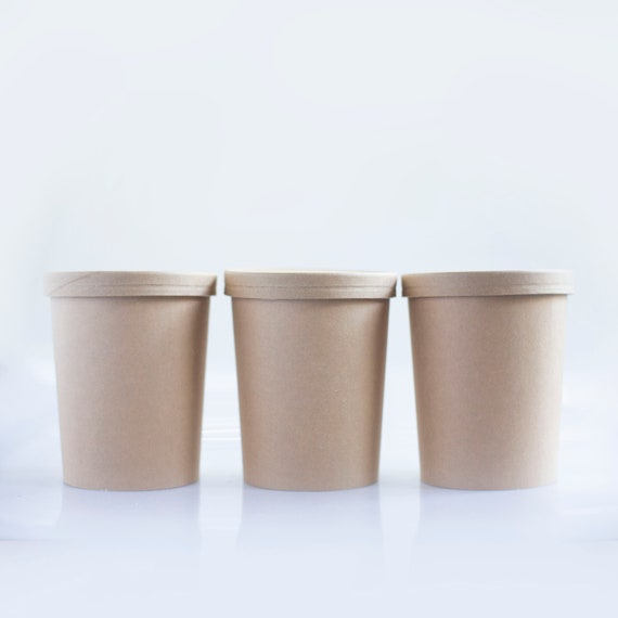 32 oz  Soup Cup | Kraft Ice Cream Cup | Leftovers Container | Wedding Takeout Container  | Hot & Cold Food Container - Set of 5