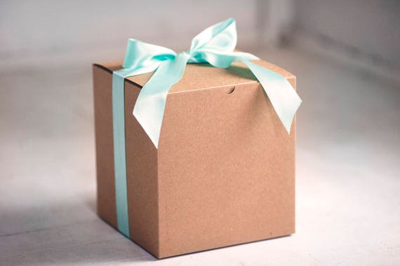 Set of 6 - 8 x 8 x 8.5 inch Kraft Gift Boxes -  Balloon announcements - Will you be my bridesmaid - gender reveal boxes