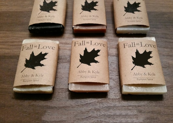Wedding Soap Favors  1 oz - Custom Party Favors - Fall Wedding - Shower Favors - Rustic Wedding Favors - Handmade Soap Favors - Fall in Love