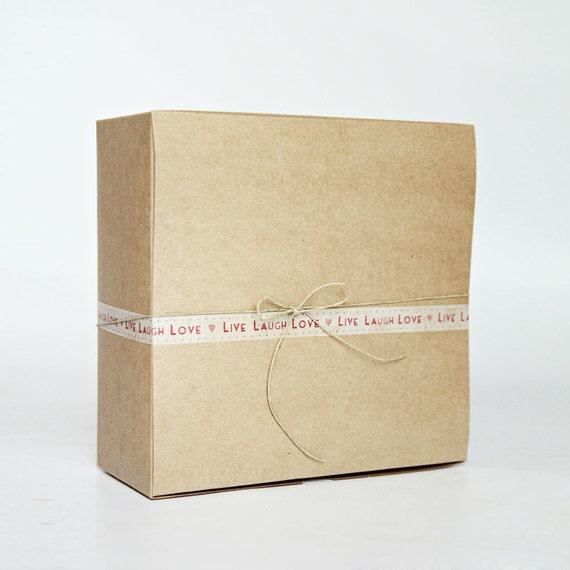 Kraft Gift Boxes- 8 x 8 x 3.5 inch- Set of 13  (20.32 x 20.32 x 8.89 cm) || Gift Presentation Box:  Wedding, Bridesmaid, Birthday, Shower