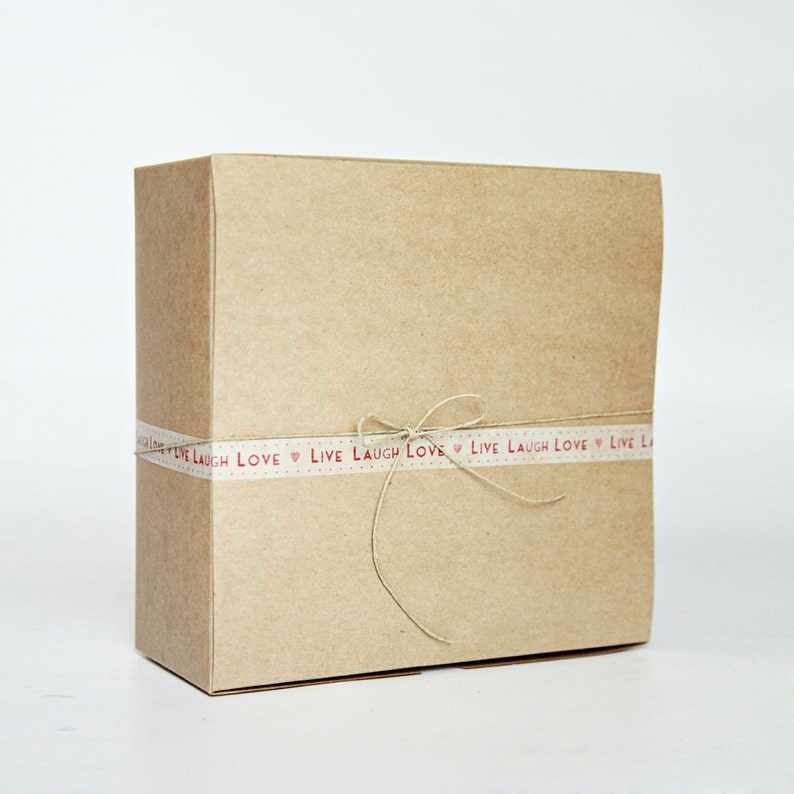 8 x 8 x 3.5 inch Kraft Gift Boxes lot of 5      Party Favor image 0