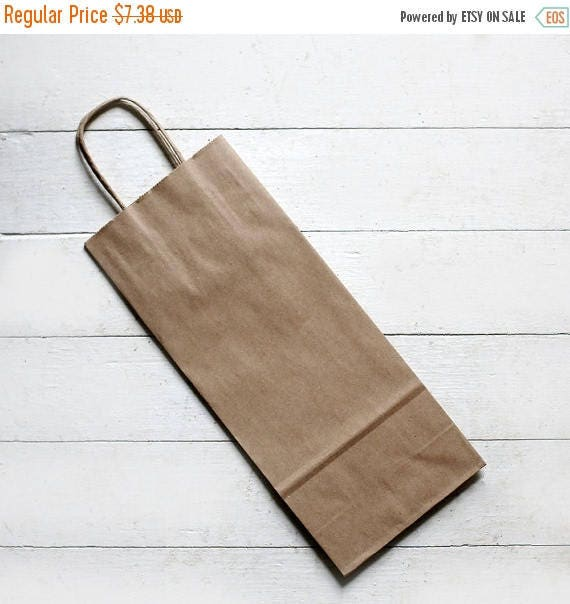 Sample set of 3- Recycled Kraft Handle Bags (Fits Wine Bottle) 5-1/2 x 3-1/4 x 13  inches | Rustic Wedding Favor Bags, Candy Bags, Wine Bags