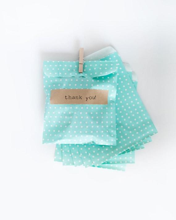 Lot of 12  Teal Polk-a-dot Paper MERCHANDISE BAGS  || Wedding Favor Bags, Treat Bags, Candy Buffet Bags, Mint, Baby Shower