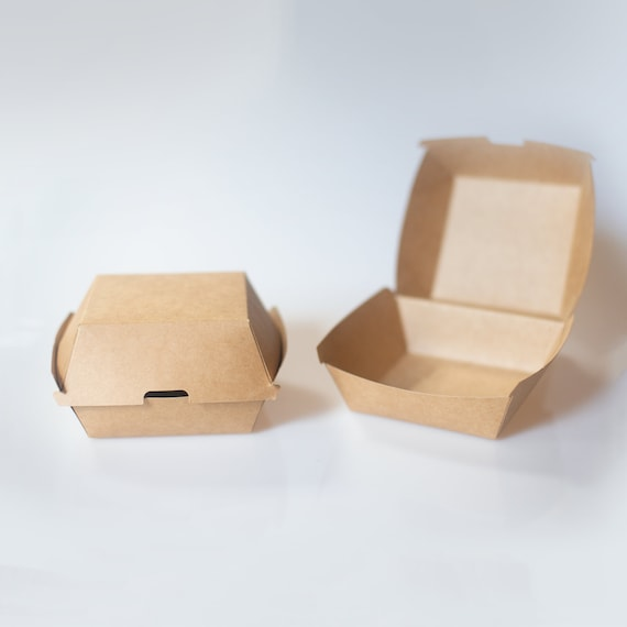 "Kraft Burger Box - 5.7 x 5.3 x 3.1"" - Hamburger container  - Sandwich Box - Party Takeout Box - Fast Food Container - Wedding Buffet Box"