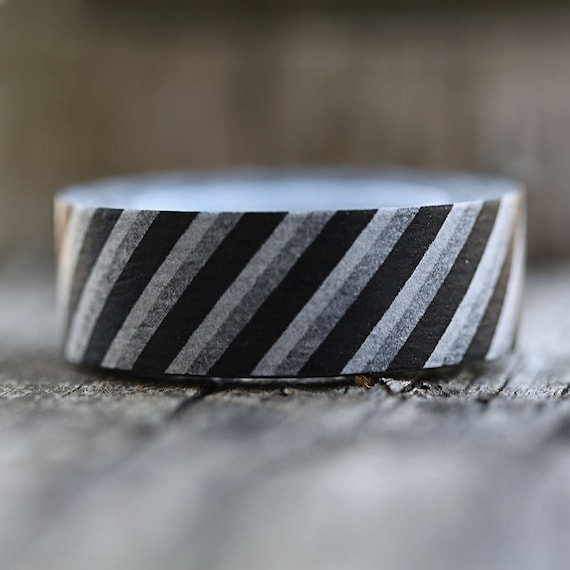Black and White Diagonal Stripes -  Single Roll 10 mm - New Years Favors and Decor