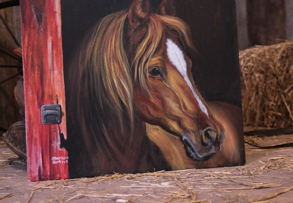 Horse in Barn Door - 20 x 24 inch Acrylic Painting on Canvas board w/ replica print options- Barn Door Art / Country Kitchen / Country Home