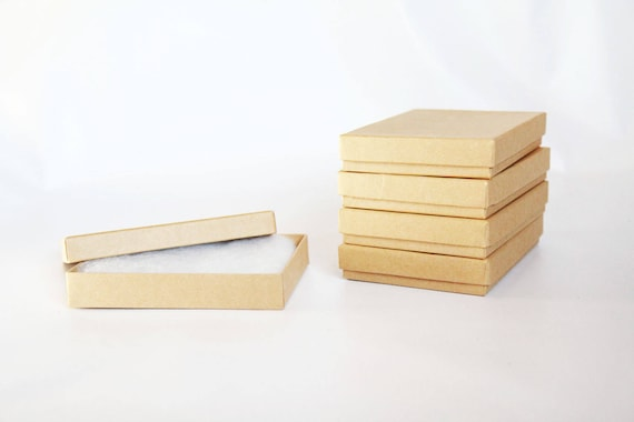 30- Kraft  Boxes filled with cotton 5 1/4 x 3 3/4  x 7/8  Works great for photography presentation, Invitation & Card Boxes, Print Boxes