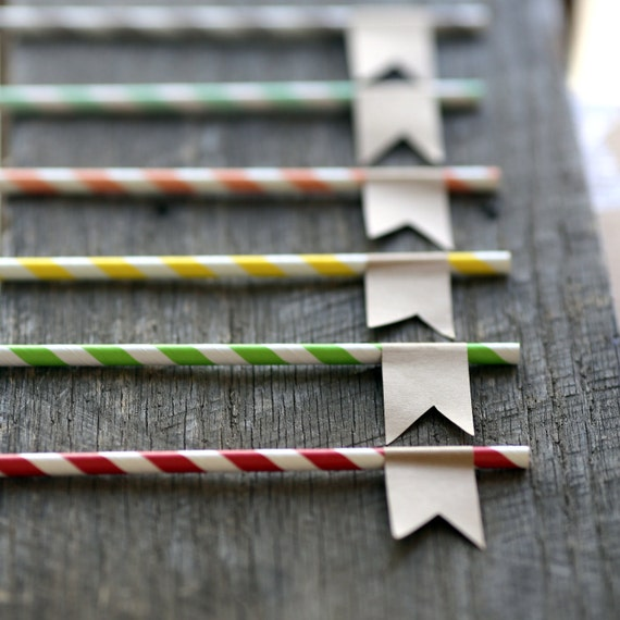 Paper Straws with Kraft Flag -  set of 24 - Custom printing -Great for Parties & Weddings - Party Drinks, Cake Toppers, Gift Toppers, Favors