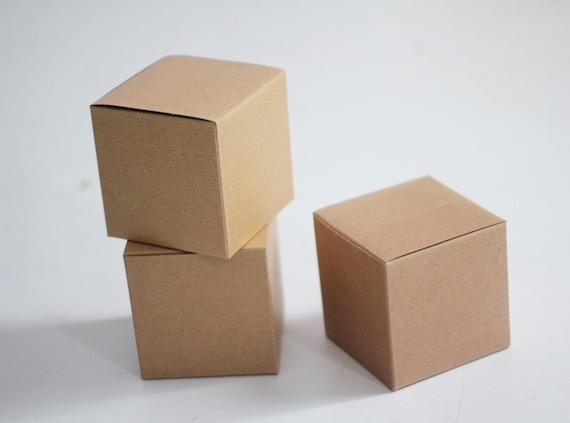 40- 4x4x4 inch Kraft Gift Boxes  -Kraft Pinstripe or Solid Surface  || Rustic Wedding Box, Coffee Mug, Party Favors, Candy Box, Cupcake Box