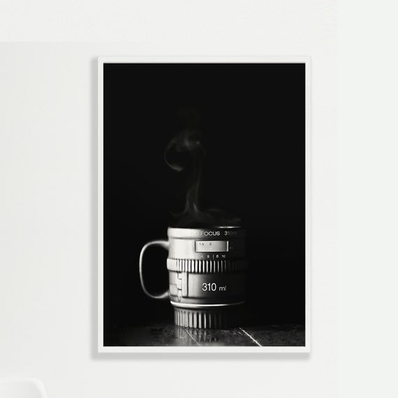 FOCUS - Black and White Camera Lens - Coffee Mug - Steam - Espresso - Coffee Shop - Modern - Photographer - INSTANT DOWNLOAD