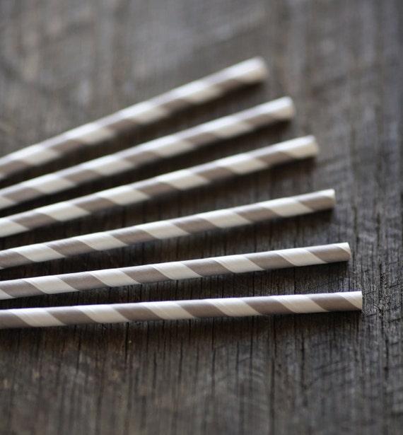 Soft Grey- Paper Straws- Set of 12