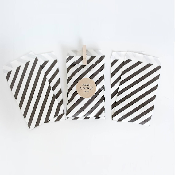 Lot of 12  Black & White Stripe Paper  Bags- various sizes || Wedding Favor Bags, Treat Bags, Candy Buffet Bags, Photo print bags, New Years