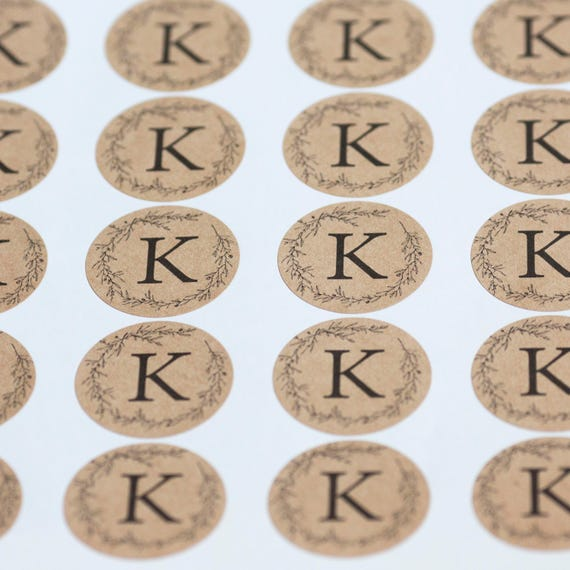 Monogram Circle Stickers - 1.67  in- Set of 24 -Wedding Stickers, Planners, Scrap booking, Invitations, Packaging, Party Favors, Custom logo