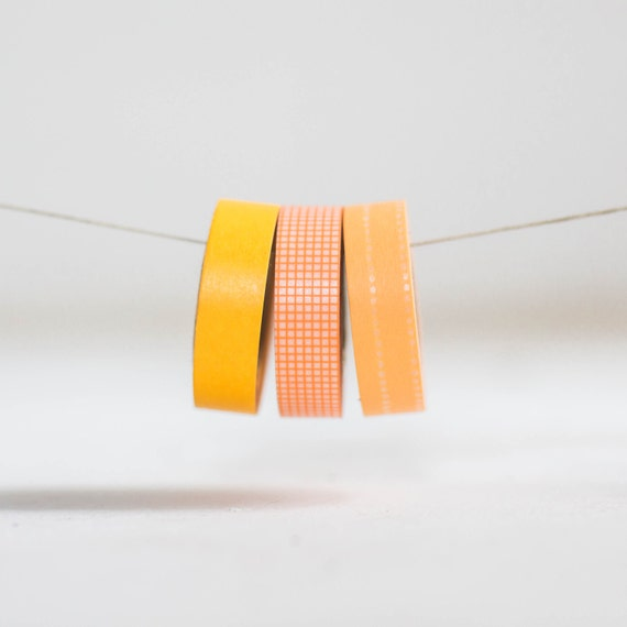 Orange Trio Japanese Washi Tape- 3 Rolls 15mm each