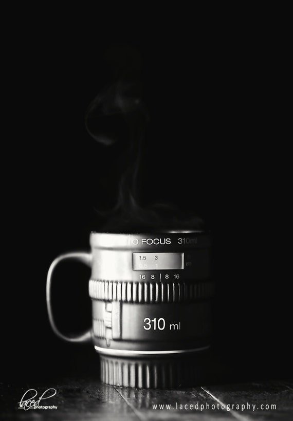 Coffee Shop Photography- Morning Coffee, java, coffee, wall decor, steam, camera, brown, black, white, camera lens, new years