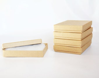 5- Kraft  Boxes filled with cotton 5 1/4 x 3 3/4  x 7/8  Works great for photography presentation and jewelry