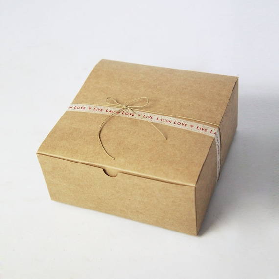 8 x 8 x 3.5 inch Kraft Gift Boxes lot of 30    ( 8x8x3.5 inches)  (20.32 x 20.32 x 8.89 cm)  Custom Printing options on stickers