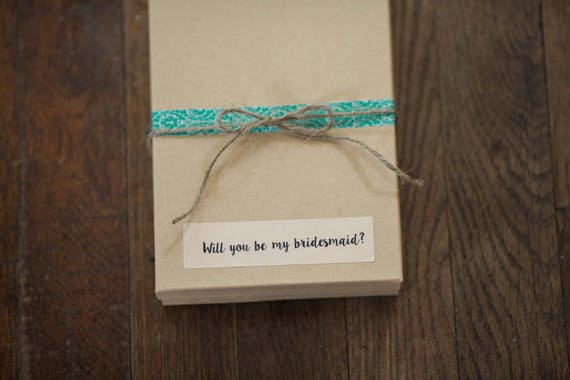 Wedding Sticker Labels- Will You Be My Bridesmaid? - 4 x 1 in- Set of 6  | Wedding Stickers, Bridesmaid Gifts, Rustic Wedding Ideas, Boxes