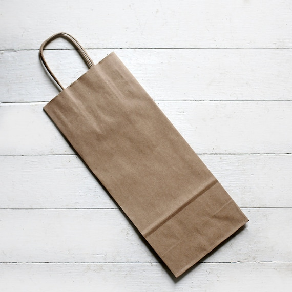 10- Recycled Kraft Handle Bags (Fits Wine Bottle) 5-1/2 x 3-1/4 x 13  inches  | Rustic Wedding Favor Bags, Candy Bags, Wine Bags