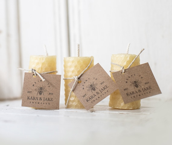 100 % Pure Beeswax Candle Favors - Rustic Wedding Favors, Shower Favors, Client Gifts